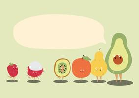 Fresh tropical fruits with a blank speech  bubble cartoon character vector