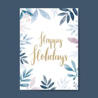 Happy Holidays watercolor card design vector