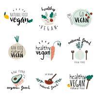 Set gesunde vegane Logovektoren