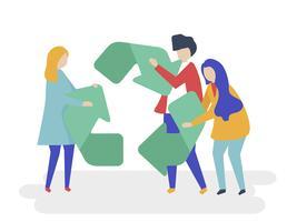 Carácter de las personas con un símbolo de reciclaje