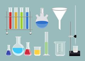 Collection of chemical laboratory equipment set illustration