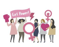 Mulher, com, feminista, conceito, ilustração