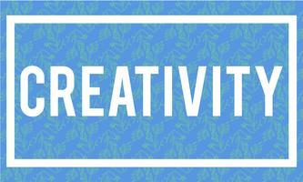 Illustration av kreativitet ord på blå bakgrund