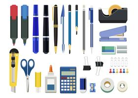 Collection of office stationery isolated on white background