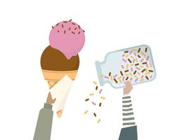 Illustration of an ice cream cone with rainbow sprinkles