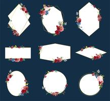 Ilustrações de design de distintivo floral romântico