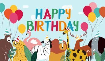 Vettore di tema animale del biglietto di auguri per il compleanno felice