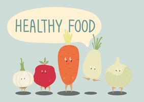 Färska grönsaker tecknade tecken uppsättning vektor