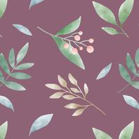 Watercolor leaf patterns on red vector