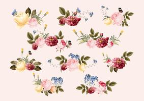 Hand drawn flowers colorful floral pattern