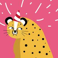 Cute cheetah wearing a party hat vector