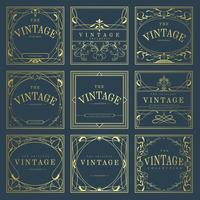 Conjunto de insignias de estilo art nouveau de oro vintage en vector azul