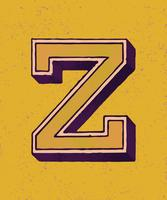 Letra maiúscula Z estilo de tipografia vintage