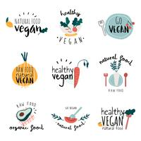 Set of healthy vegan logo vectors