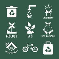 Miljöbevarande symbol set illustration