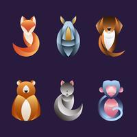 Conjunto de vetores de design animal geométrica