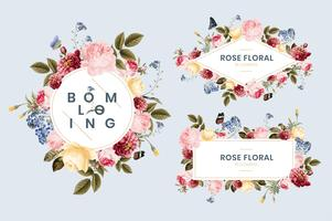 Set med blommig kort illustration