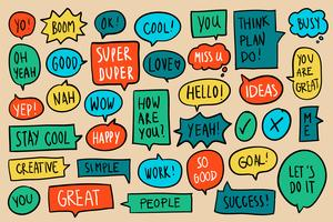 Colección de colorido discurso burbujas vector