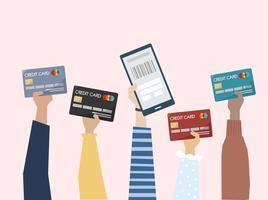 Illustration av online betalning med kreditkort