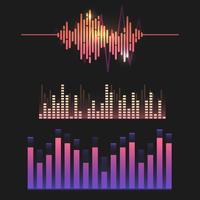 Bunter Schallwellenentzerrer-Vektordesignsatz