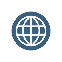 Globe icon on blue circle graphic illustration