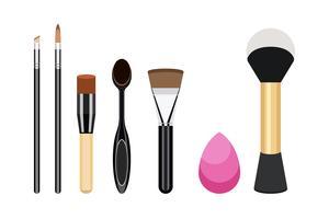 Colección de iconos de mujeres cosméticos cepillo