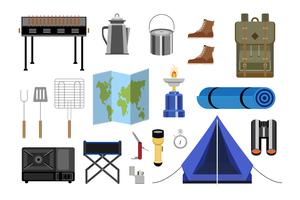 Samling av camping ikon illustration