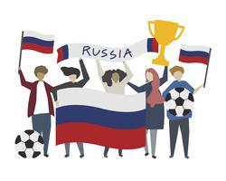 Sostenitori russi durante l'illustrazione della Coppa del mondo