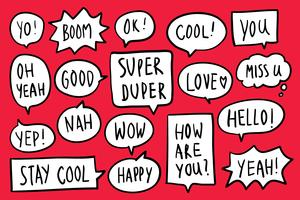 Collection of speech bubbles on red background vector