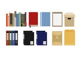 Collection de fichiers de fournitures de bureau, document, reliures à anneaux isolés sur fond blanc