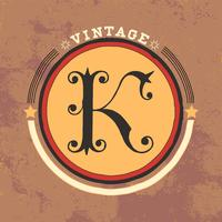 K vector design de logotipo vintage