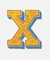 Huvudstämpel X vintage typografi stil