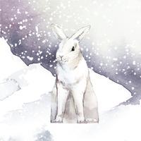 Conejo blanco salvaje en un paraíso invernal pintado por vector acuarela
