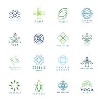Ensemble de vecteur de logo yoga et spa coloré