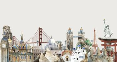 Collection of architectural landmarks around the world watercolor illustration