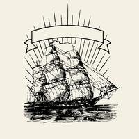 Old ship logo illustration