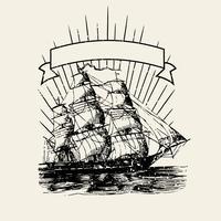 Ilustración de logotipo de barco viejo