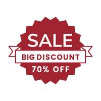 70 percent off sale badge vector