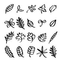 Collection de feuilles doodles illustration