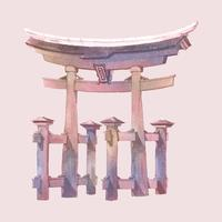 Japanese Torii gate painted by watercolor