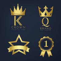 Set of golden logo vectors