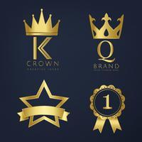 Conjunto de vetores de logotipo dourado