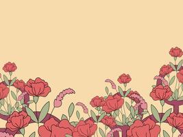Vector de tarjeta de felicitación de flor en blanco