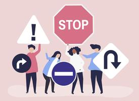 Ilustração de personagens de pessoas com ícones de sinal de trânsito