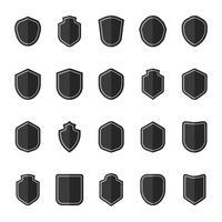 Set of black shield icon vectors