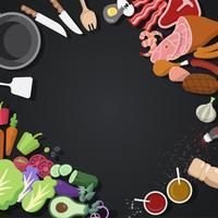 Matlagning ingredienser och verktyg vektor uppsättning