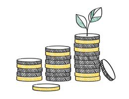 Growth of financial investment concept illustration