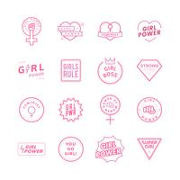 Girl power mixed emblems set illustration
