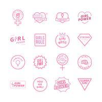 Ilustración de conjunto de emblemas de poder de chica