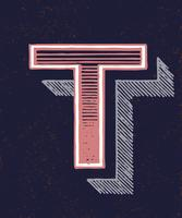 Capital letter T vintage typography style